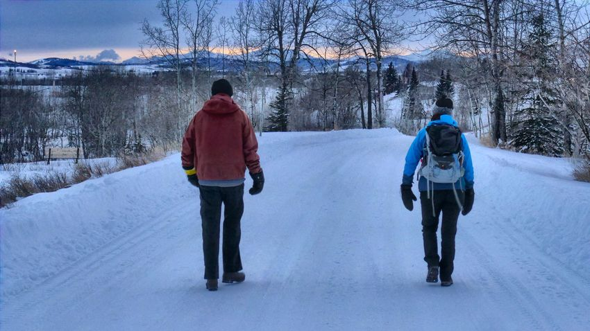 A lovely pair of friends. Mittens Gas Flare Walking Man Little Princess Companionship EyeEm Selects Winter Snow Cold Temperature Rear View Two People Walking Warm Clothing Real People Leisure Activity Togetherness Lifestyles Men Women Hiking Outdoors