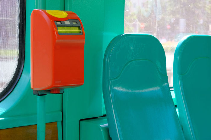 Bright Colors City Life Close Up Day Empty Seats Green Color High Contrast Indoors  Milano No People Red Seats Simplicity Ticket Validator Tram Transportation Trolley Car Turquoise Colored