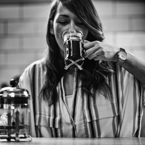 French Press Coffee Coffee French Press Female Woman Cafe Home Drink Young Girl Cup Glass One Person person Enjoy People Caucasian Lifestyle Caffeine Indoors  Holding Aroma Black And White Break Drinking Coffee Cup Front View Drinking Coffee Leisure Activity Long Hair Square