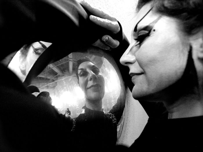 Performance artist Ann Grim, Q24 Garage Year Of The Dog Exhibition. 18/02/2018 Art London News Stevesevilempire Steve Merrick Performance Artists Performance Art Performance Artist Olympus Zuiko Ann Grim Black And White Photography Mirror Reflection Close-up Night Indoors  Real People Young Women Young Adult