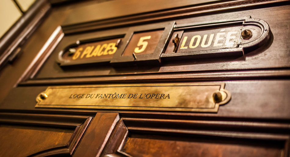 Opéra Ópera De Paris Text Close-up Communication No People Metal Western Script Indoors  Number Wood - Material Technology Capital Letter Music Retro Styled Old Selective Focus Arts Culture And Entertainment Finance Single Word Backgrounds