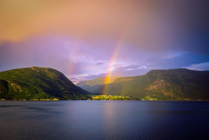 Country On The Coast Double Rainbows Norway Rainbow Colors Beauty In Nature Idyllic Landscape Scenics Sea And Sky