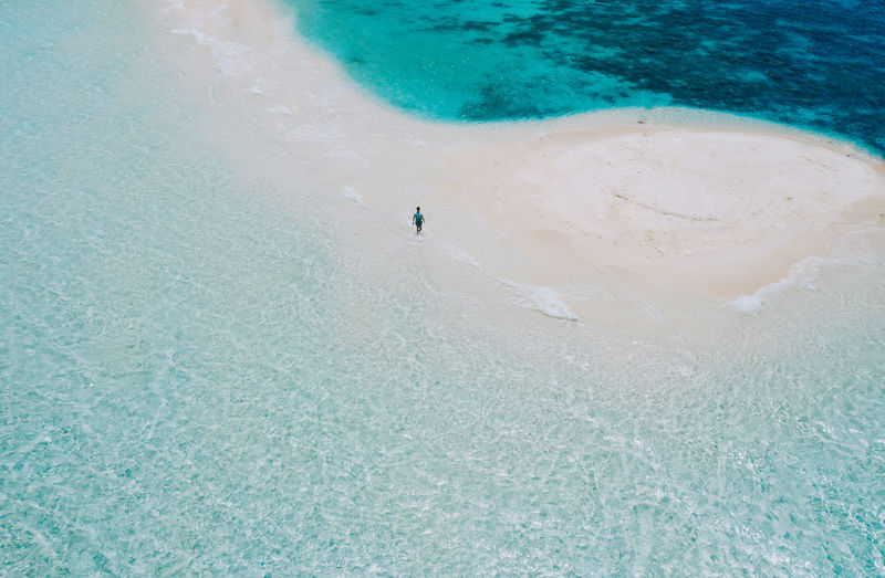 Drone view of man at beach on sunny day