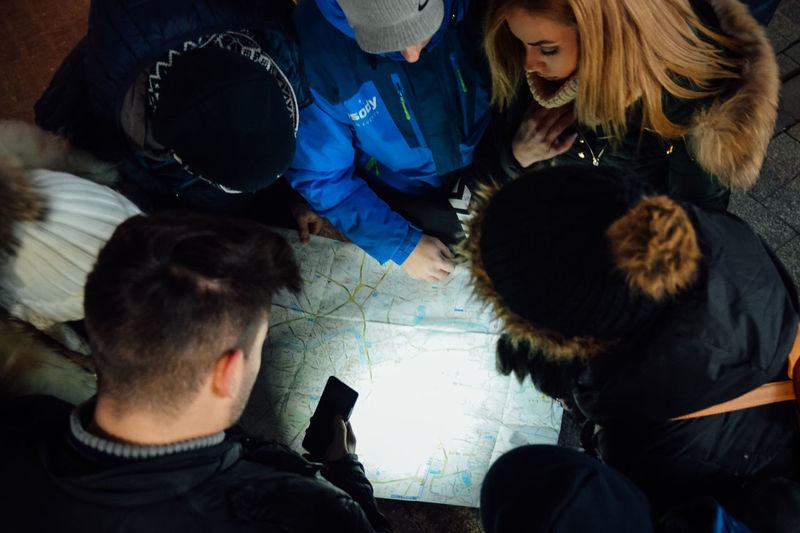 High angle view of people on floor