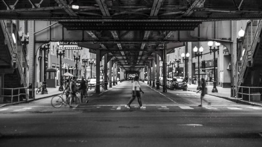 Amazing B&w Street Photography Black And White Bridge Busy City Chicago Loop City Life City Street Love The City Street Taking Photos