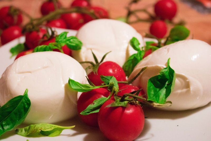 Mozzarella Di Bufala Food Food And Drink Freshness Close-up Red Leaf Healthy Eating No People Indoors  Red Chili Pepper Pomodoro Basilico Ready-to-eat Freshness Temptation Milk