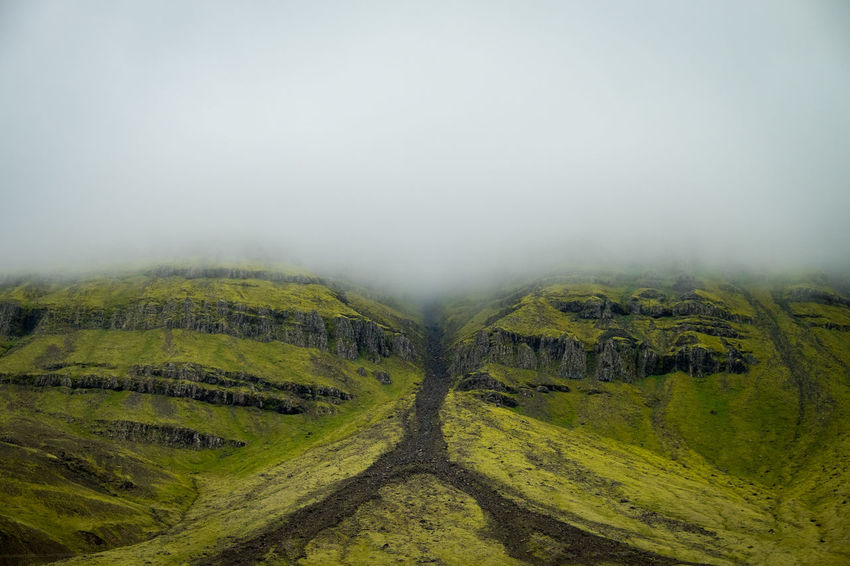 Green Iceland Beauty In Nature Day Environment Fog Grass Green Color Land Landscape Nature No People Non-urban Scene Outdoors Plant Rural Scene Scenics - Nature Sky Tranquil Scene Tranquility Tree