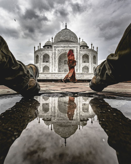Done That. Taj Mahal Reflection Water Religion Cloud - Sky Travel Destinations Architecture Spirituality History Sky Reflecting Pool Statue Dome Puddle Adult Outdoors Bird Sky And Clouds EyeEm Best Shots Politics And Government Building Exterior Day People The Traveler - 2018 EyeEm Awards