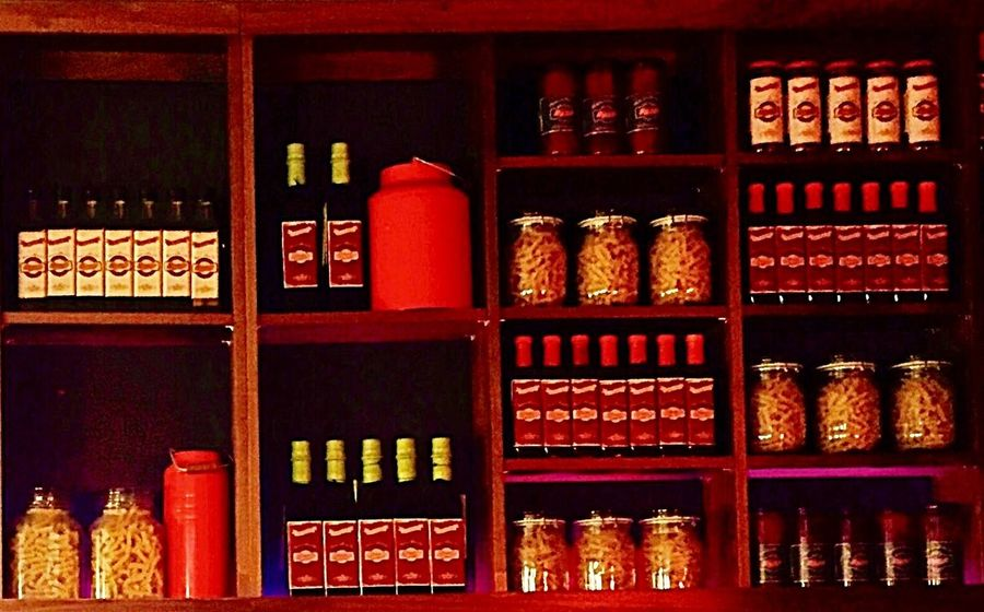 Bottes Glass Jars Jar In A Row Rows Of Things Shelves Shelf Display Restaraunt Displayshelf Cafe Iphonephotography Iphone 6 Plus Iphone6plus Everything In Its Place