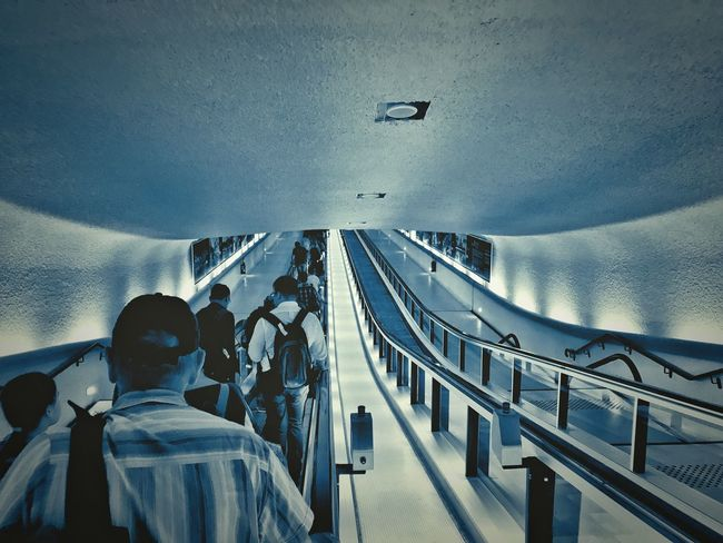 Rear View Real People One Person Men Transportation Indoors  Built Structure Architecture Airplane Sitting Day One Man Only Sky Adult People Only Men Adults Only Shotoniphone7 Escalator Roissy Charles De Gaulle Airport Terminal 1 Airport Cyanotype View From Behind