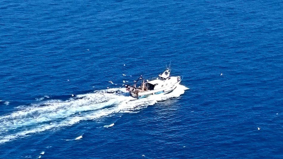 Ship Ship Trail Fishing Boat Boat Trail Boat In The Sea Ship In The Sea Blue Sea Blue Sea Photography Beautiful Natural Colors Lovely Blue Albir Going To The Lighthouse In El Albir SPAIN
