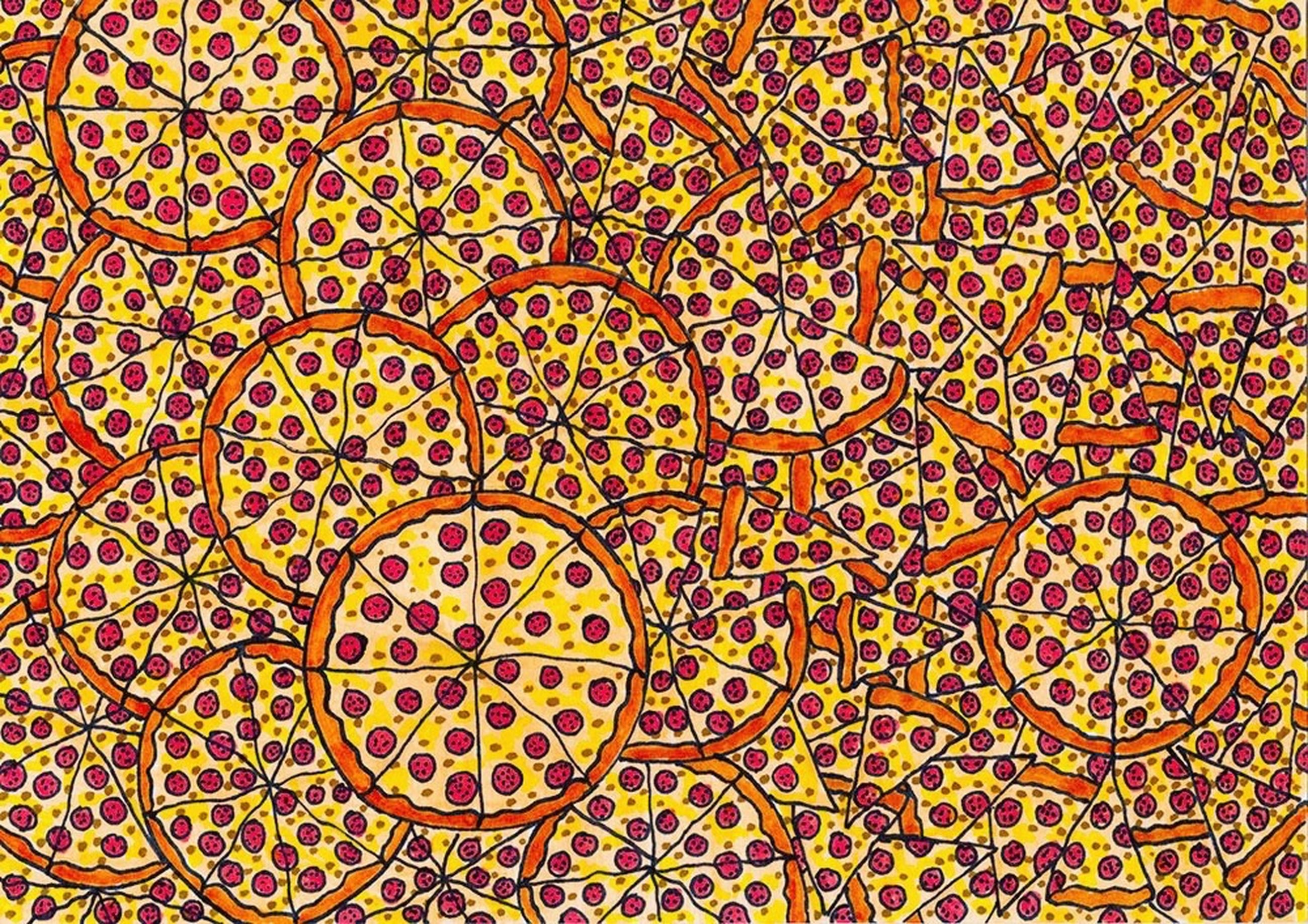 full frame, pattern, backgrounds, design, indoors, ornate, art and craft, textured, architecture, built structure, art, creativity, wall - building feature, floral pattern, orange color, red, circle, no people, geometric shape, close-up