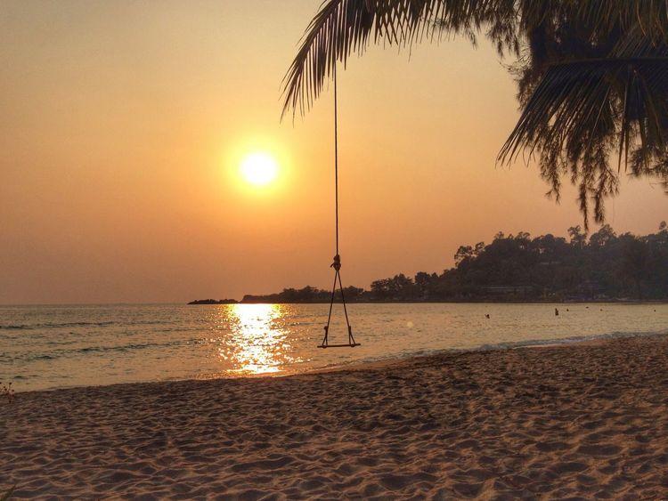 Beach at sunset Beach Beachphotography Sunset Swing Sand Sea Island Koh Chang Thailand