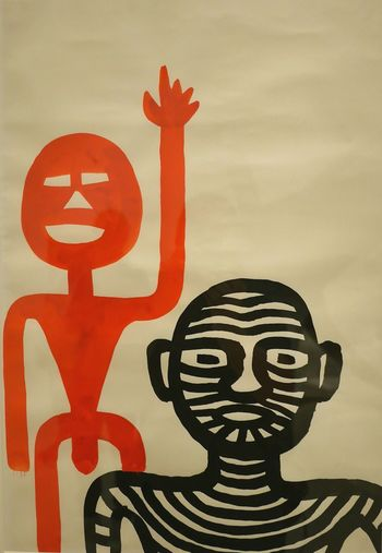 exposition temporaire Calder au Musee Soulages Rodez - Exposition Multi Colored Rodez Aveyron Art Museum Modernart Human Representation Gouache Painting Red Gouache Painting