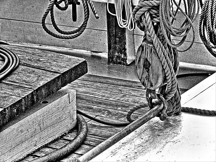 Bannister Berth Black & White Black And White Blackandwhite Building Exterior Chord Chords Cord Cords Curve Desk Harbor Marine Marine Life No People Outdoors Outside Pulley Pulley Block Pulleys Railing Rope