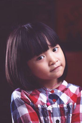 Child Portrait Black Background Childhood Studio Shot Girls Headshot Looking At Camera Human Face Cute