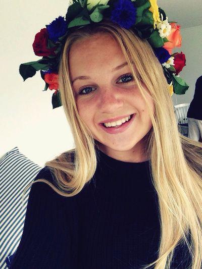 Summer Midsummer June Girl Blonde Smile Happy Flowers Face Sun