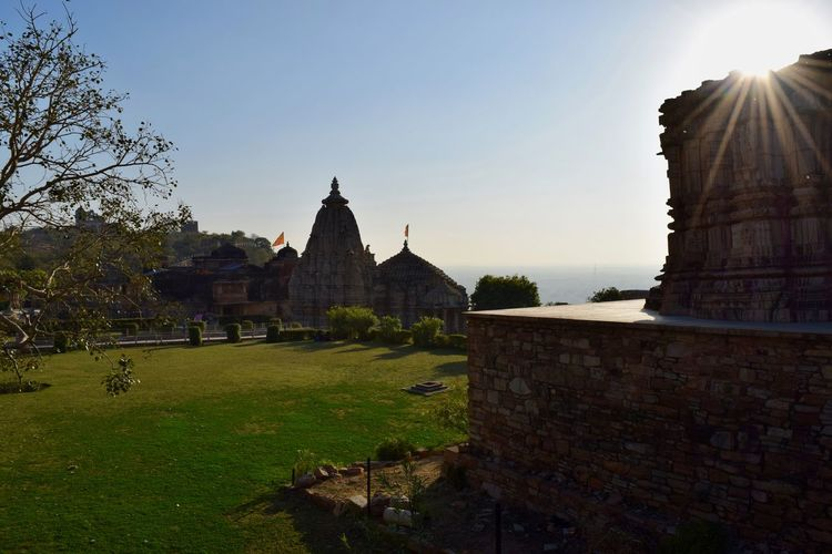 View of Temple from Tower of Victory Architecture Building Exterior Built Structure Chittorgarh Fort Cultures Day Heritage Site History No People Outdoors Place Of Worship Religion Sky Spirituality Tourism Travel Travel Destinations Vacations