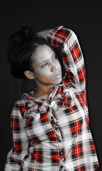 Button Up button up shirt Button One Color Hair Eyeliner Red Tones Button Up Shirt Full Lips Self Portrait Mixed Race Cat Eyes Plaid Shirt  Black And White Black And White Photography Blackandwhite Blackandwhite Photography Close-up Photoshop Portrait Red Only Selfie Studio Shot Young Adult Young Women Press For Progress This Is My Skin