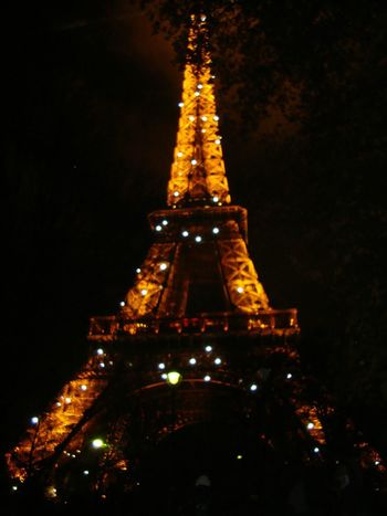 Paris... Architecture Tour Eiffel, Gold Colored Nightlights Illuminated Shadow Something Magic