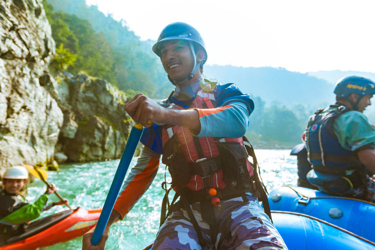 A rafting instructor in the ganges. Rafting Instructor Rafting Ganges River Rafting In Ganges Rafting In Rishikesh Rafting In India Water Sports Adventure Sports Adventure Sports India