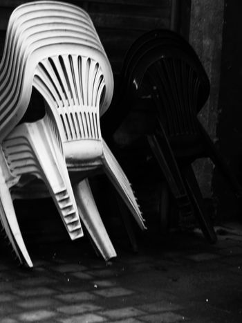 Outdoors Close-up Stacked Chairs Chairs Blackandwhite The Week On EyeEm Black And White Friday EyeEm Ready   End Plastic Pollution