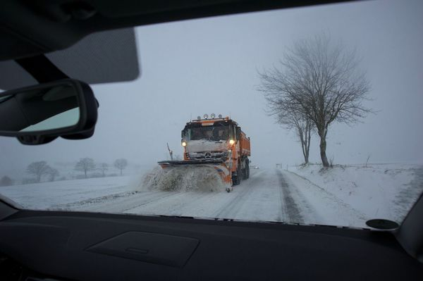 Snow plow truck through windshield Frozen Tree Nature Car Point Of View Road Driving Windshield Car Snow Cold Temperature Winter AMP PICTURES