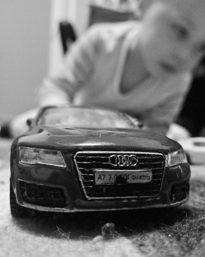 Quattro. Trying to instill good taste in Cars from the very beginning! Toy Car Toy Photography Carporn Audi Audi Quattro Audi A7 Automobile Blackandwhite Black And White Black & White Black&white Black And White Photography Black And White Collection  Showcase March The Week On EyeEmChild Playing