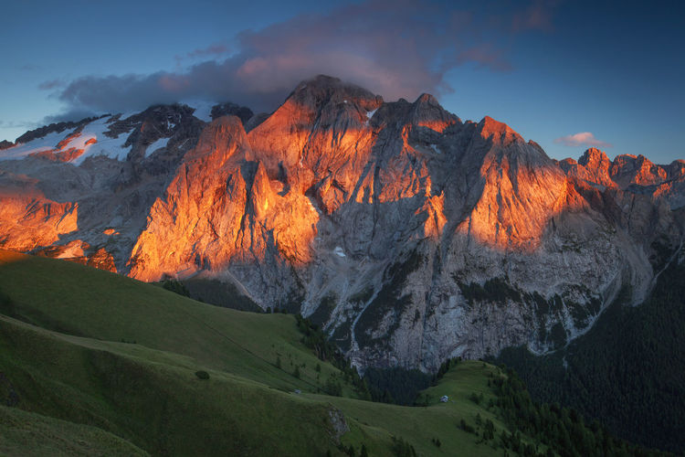 Incredible landscapes from Dolomite Mountains, Italy. Atmosphere Beautiful Dolomites Nature Rocky Alps Clouds Dolomiti Europe Italy Landscape Marmolada Mountain Outdoors Peak Photography Red Light Sunrise Sunset Travel Destinations Valley Perspectives On Nature