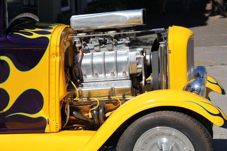 Yellow vehicle on road