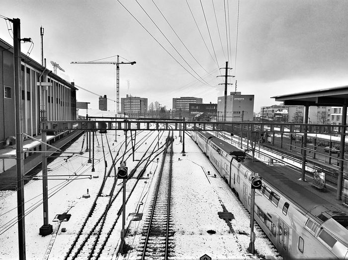 Snow Winter Black And White Sky Cloud - Sky Railroad Track Rail Transportation Power Line  Train - Vehicle Railway Track