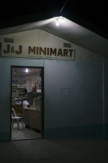 Illuminated text on entrance