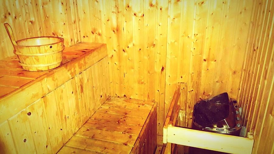 1st time sauna!Hot!Hot!Hot!! Wood - Material No People Indoors  Sauna Time  Sauna Room Sauna Bucket Sauna Sauna & Shower Heaven Holiday And Relaxing Travel