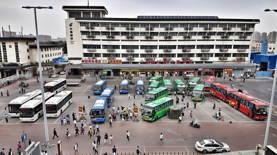 Xi'an Bus Station Bus Station Buses Multi Colored Crowd City Sky Architecture Building Exterior Built Structure