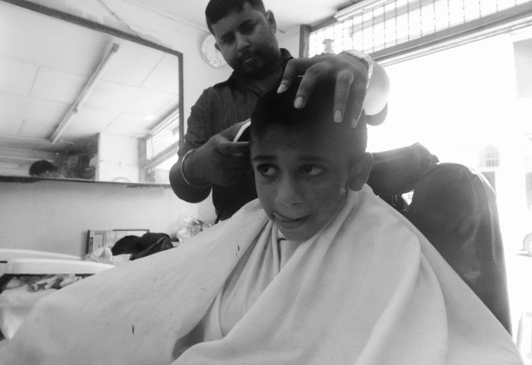 Barber Black And White Photography Childhood Haircut Time Indoors  Old Barber Shop Streetphoto_bw The Street Photographer - 2017 EyeEm Awards Wearethestreet Young Child
