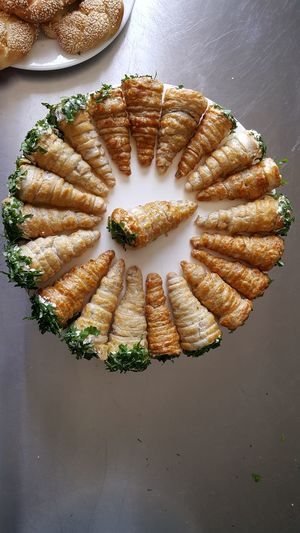 High angle view of rolled up snack