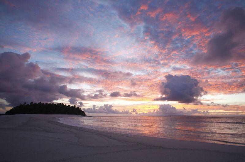 Paradise Beach at the Fiji Islands Fiji Fiji Islands Island Tropic Sky Beauty In Nature Cloud - Sky Scenics - Nature Tranquil Scene Tranquility Land Idyllic No People Nature Outdoors Sea Sunset Water Beach Horizon Horizon Over Water Non-urban Scene Dramatic Sky
