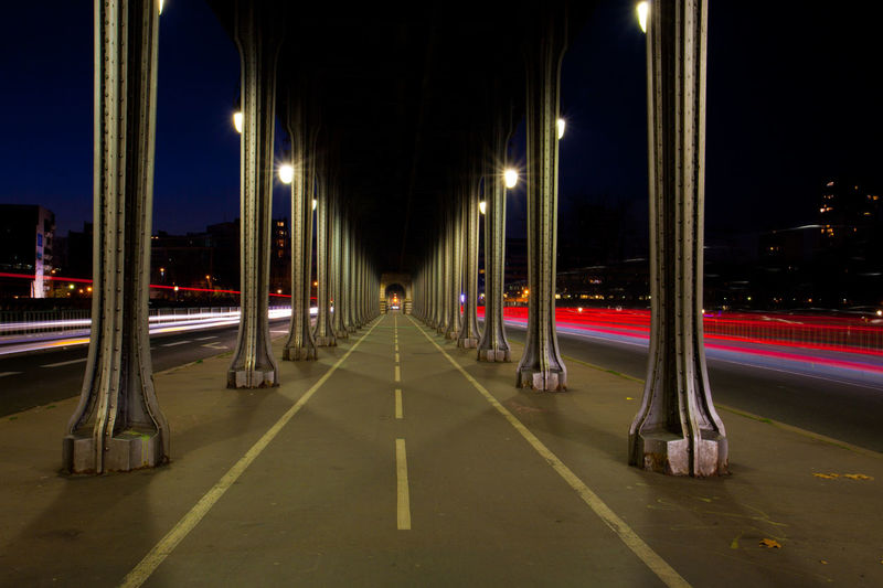 Bridge Illuminated Long Exposure Metro Night Outdoors Paris Pont De Bir-hakeim The Way Forward Mobility In Mega Cities