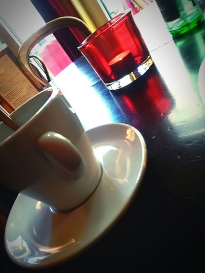Café wonderland Green Color Red Approaching From Another View Reflection On The Table Still Life Table Close-up Black Coffee