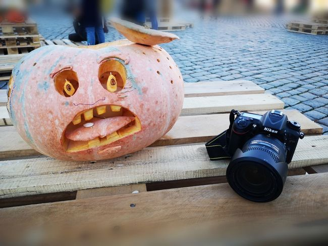 Pumpkin and camera Photography Themes Camera - Photographic Equipment Anthropomorphic Face Close-up Lens - Optical Instrument Lens - Eye Photographic Equipment SLR Camera Photographer Digital Camera Camera Optical Instrument Vintage Movie Camera