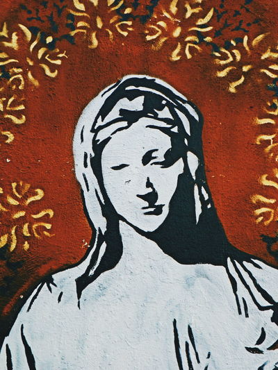 """""""Madre de Dios"""" Jorge Vegah, 2017. Art And Craft Creativity Human Representation Close-up Backgrounds Drawing Day Full Frame No People Multi Colored Outdoors Virgin Mary Madre De Dios Mother Of God Street Photography Street Art Graffiti Graffiti Wall Hope Virgen María Fé Misticism Art Fotografomexicano First Eyeem Photo"""