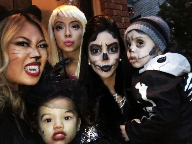 Sisters and niece and nephew and friend Toronto Happy Halloween 2015