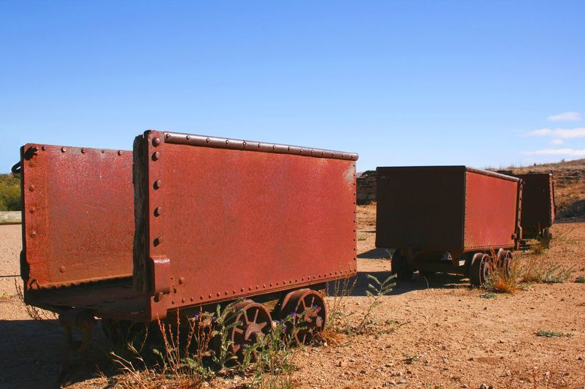 Abandoned ore trucks, Copper Mine, Burra, South Australia Abandoned Arid Climate Australia Burra Clear Sky Copper Mine Day Freight Transportation Historic Industry Mode Of Transport Nature No People Ore Truck Outdoors Rail Transportation Rusting Sky Transportation