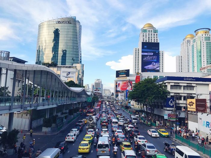 Bangkok traffic Car Architecture Transportation City Land Vehicle Traffic Road Building Exterior Street City Life Sky