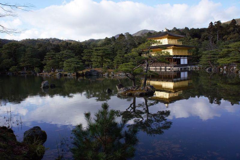 In Kyoto Temple At 鹿苑寺(金閣寺) Kinkaku-ji Temple