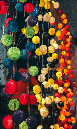 High angle view of multi colored decorations hanging for sale