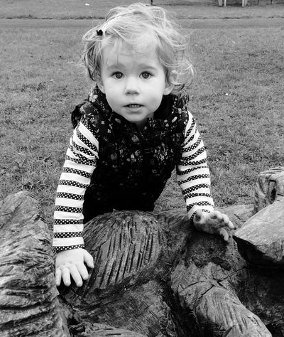 At the park with Scarlett on a windy day