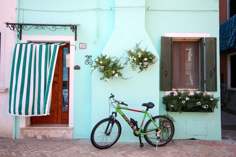 Green Colorful Burano Buranoisland Green Color Building Exterior Architecture Built Structure Transportation Plant Building Day Window Wall - Building Feature House