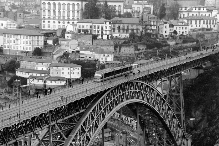 Metals gap Train Alliance Porto Bridge Mobility In Mega Cities Architecture High Angle View Built Structure Transportation City Outdoors Cityscape