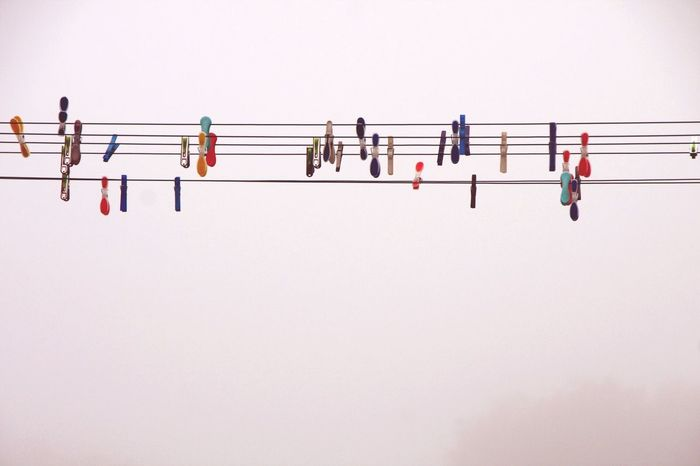 Musicbar Music Washing Lines Melody Sound Copy Space Clear Sky Ski Nature Tranquility Scenics High Section Day Tranquil Scene Journey Outdoors White Background Sky